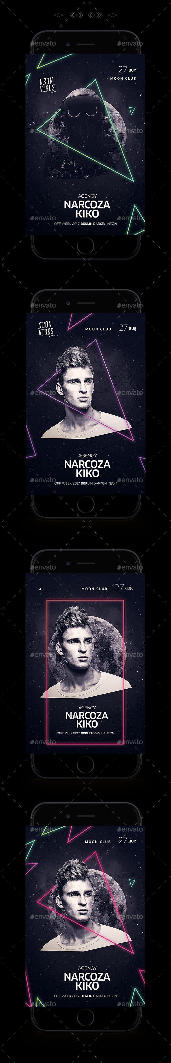 Neon Flyer — Photoshop PSD #8.847x12.957 #light • Download ➝ https://graphicriver.net/item/neon-flyer/19457841?ref=pxcr
