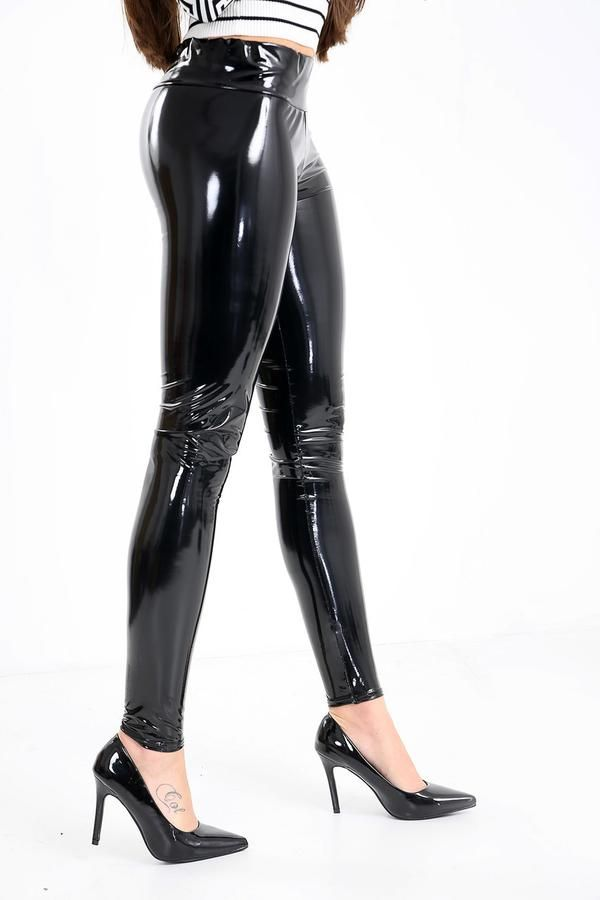 baea79f982466f High Waisted PVC Leggings - thewas | PVC jeans and trousers in 2019 | Pvc  leggings, Latex pants, Leather leggings outfit