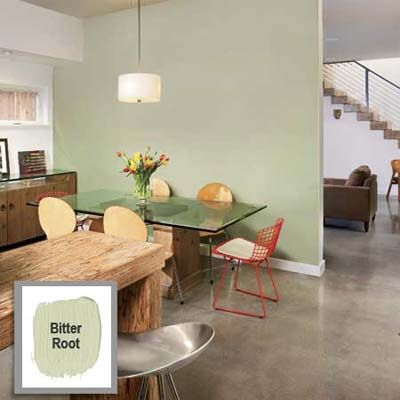 Define an Area in an Open Plan    A colored wall can delineate space for a specific activity. Here, grayish green behind the dining table helps carve out a distinct eating area within a whitewashed kitchen.    Paint: AFM Safecoat