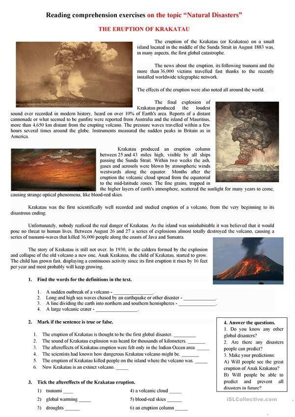 Volcano Reading Comprehension Worksheets the Eruption Of ...