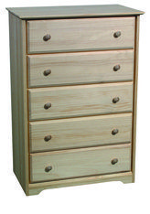 Pine Shaker 5 Drawer Chest - Unfinished furniture of New Jersey, New York and Pennsylvania offering unfinished wood chests, unfinished wood dressers, stained dressers, stained chests, stained lingerie chests, unfinished wood lingerie chests, unfinished bedside chest, stained bedside chest, painted chest, painted dresser, painted bedside chest, painted lingerie chest. Sold by Gelco Woodcraft and Howard Hill Furniture.