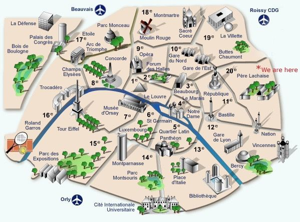 Download Map Of Paris With Monuments Major Tourist Attractions