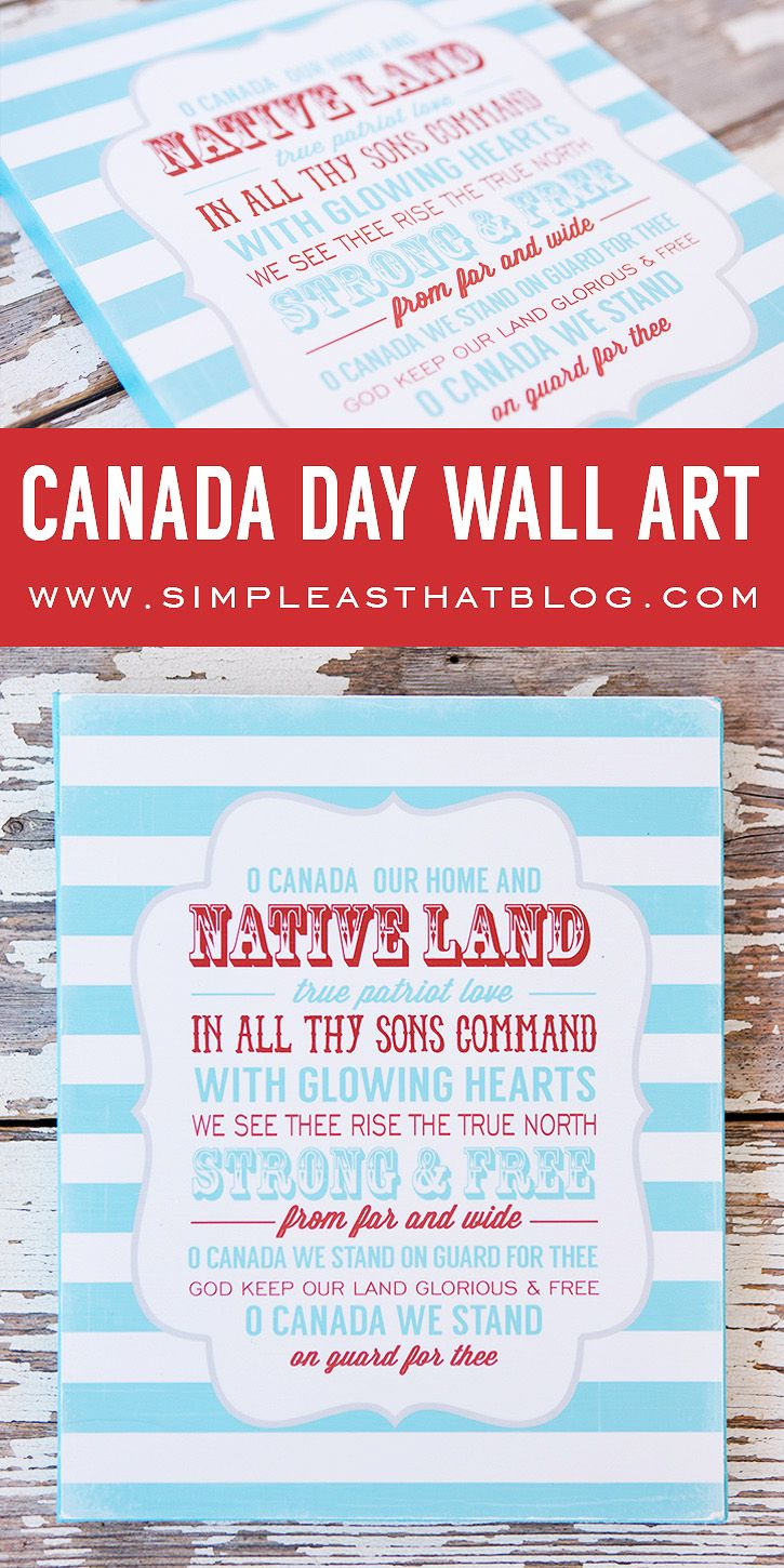 DIY Canada Day Wall Art. Includes free 8x10 Canadian national anthem art print.