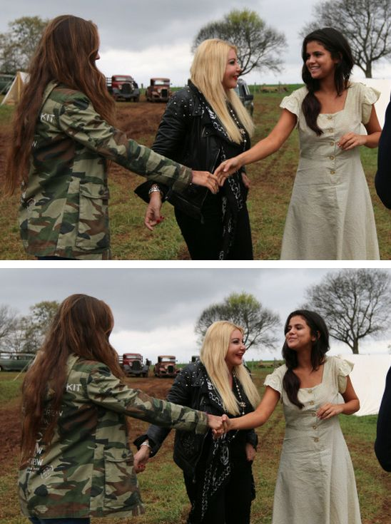 """March 25: Selena on set with Producer Monika Bacardi of AMBI Pictures while filming """"In Dubious Battle"""" in Bostwick, GA"""