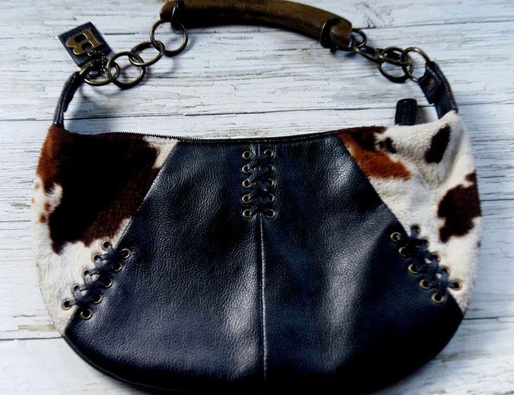 Bohemian Black Leather/Faux Cow Hide/Chain/Wooden Shoulder Bag by BULAGGI. #Bulaggi #ShoulderBag #Everyday