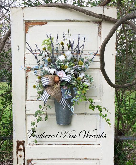 Spring Door Wreath Cotton Boll Wreath by FeatheredNestWreaths