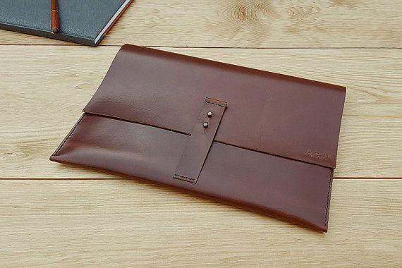 Laptop Sleeve, Travel Wallet, Leather MacBook Case, Document Folder, MONOGRAM