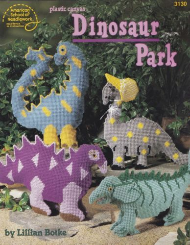 Dinosaur-Park-Plastic-Canvas-Pattern-Booklet-ASN-3130-Mom-Dad-Baby-Dino-Toys