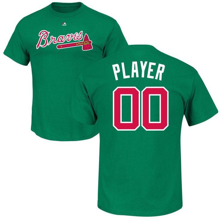 Atlanta Braves Majestic St. Patrick's Day Roster Custom Name & Number T-Shirt - Green