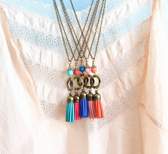 Necklace, Colorful Tassel Necklace, Long Necklace, Boho Jewelry, Suede Tassel Pendant, Statement Pendant, Brass Necklace by JacarandaDesigns on Etsy