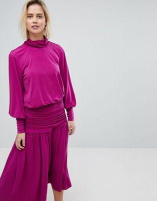 Warehouse Blouson Sleeve Polo Neck Top