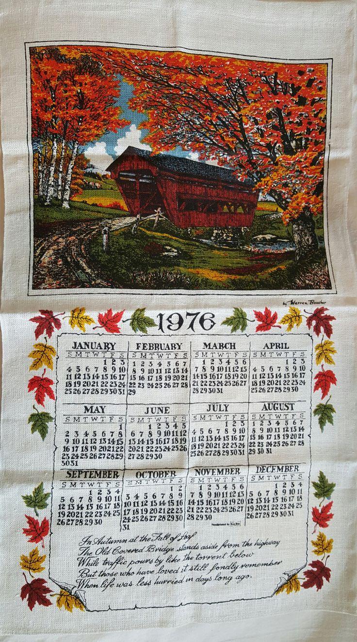 Ralph Lauren Table Linens Part - 40: TEA TOWEL / 1976 Calendar Linen / Kitchen Towel / New England Covered  Bridge / Fall