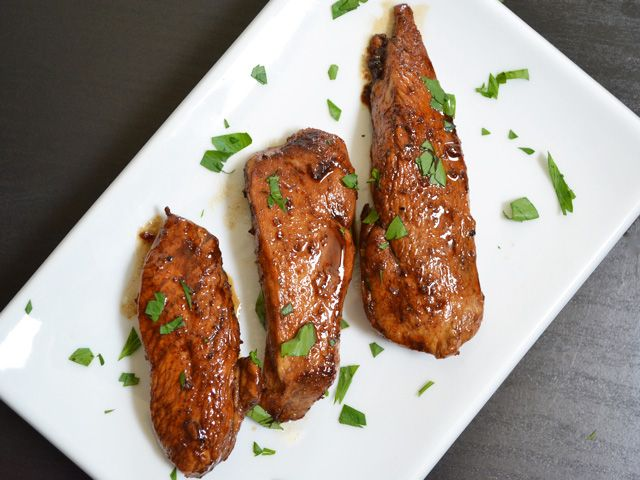 The sweet and tangy sauce on these Honey Balsamic Chicken Tenders is a quick way to jazz up simple chicken breasts. Step by step photos.