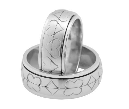 White Gold Wedding Rings with   revolvable band which enables two designs of the rings - either Four-leaf clover and Diamonds or Hearts