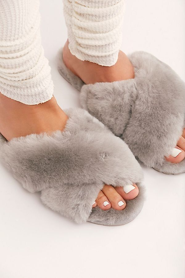 0e5dee1d87a Mayberry Slipper - Fluffy Furry Criss Cross House Gray Slippers - Fuzzy  Slippers - Faux Fur Slippers - Free People Sleepwear