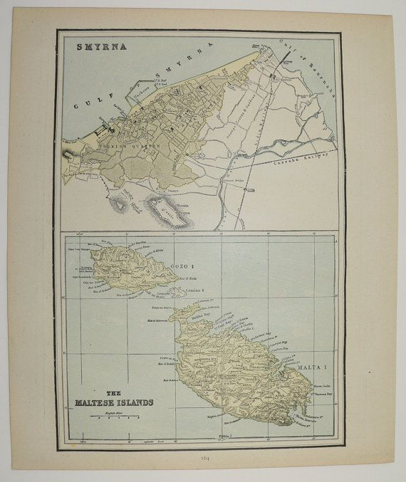 Maltese Islands Map Malta Smyrna Map 1888 Antique Map, Ancient Jerusalem Map, Traveler Gift, Historical Map, Vacation Gift, Vintage Art Map available from OldMapsandPrints on Etsy