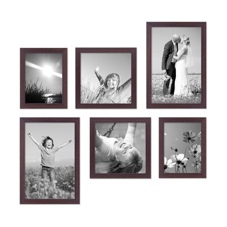 6er Set Bilderrahmen 15x20, 20x20 und 20x30 cm Nuss Modern Massivholz-Rahmen mit Glasscheibe inkl. Zubehör / Fotorahmen  – Bild 2