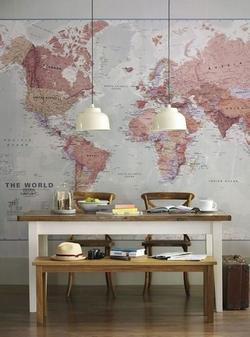 Dining Room | Pendant Lighting | Wall Canvas | DIY Art | World Map Decor | Home Design
