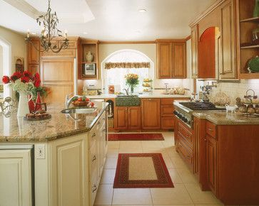 Cool Honey Oak Cabinets With Off White Island And Tile Floor KitchensModern Farmhouse