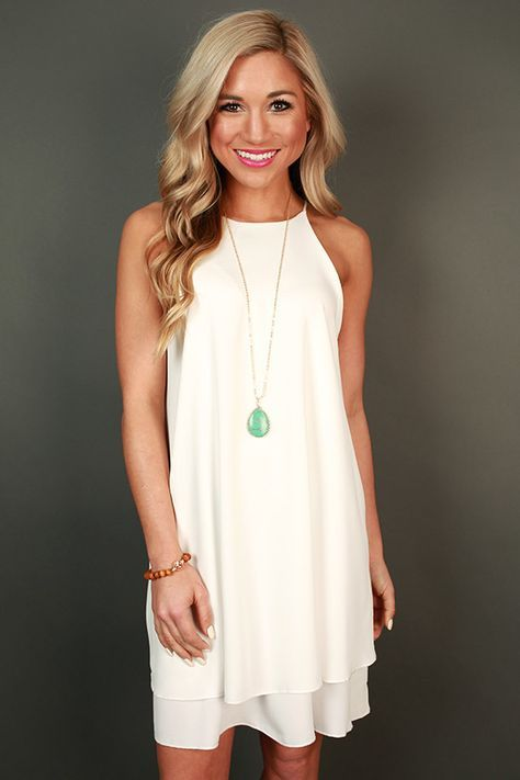 Brunch Date Shift Dress in White