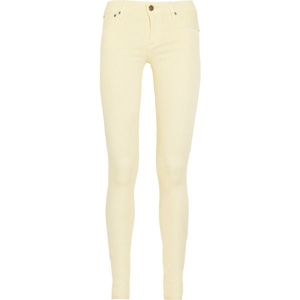 Helmut Lang Mid-rise skinny jeans ($90) ❤ liked on Polyvore featuring jeans, pants, bottoms, pantalon, calças, pastel yellow, mid rise jeans, helmut lang jeans, denim skinny jeans and yellow skinny jeans