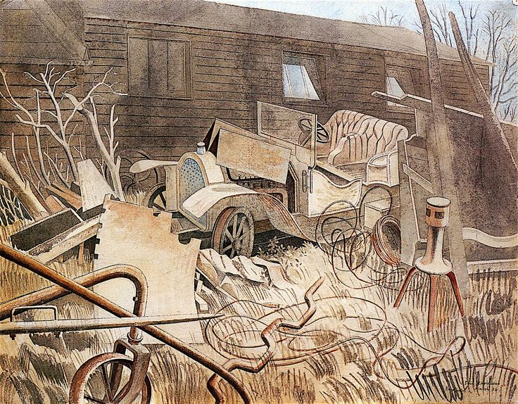Talbot-Darracq by Eric Ravilious 1934 (@Townergallery). Agricultural machinery and vehicle repair yard, Bell Lane, Great Bardfield, Essex.