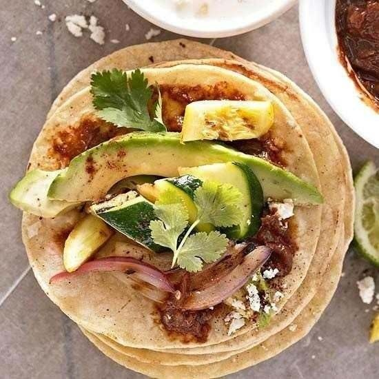 Grilled Vegetable Tostadas with Quick Mole Sauce | Recipe