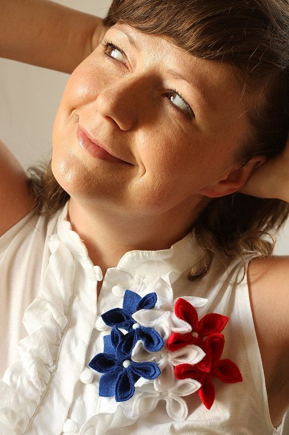 Americana  Blue White and Red Felt Flower by GoodFloristDesign
