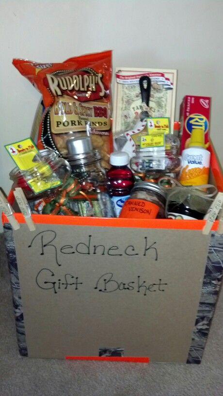 Redneck gift basket: Beef jerky, natural light, moonshine @ liquor, duck tape, sharpie marker, red solo cup, vienna sausages