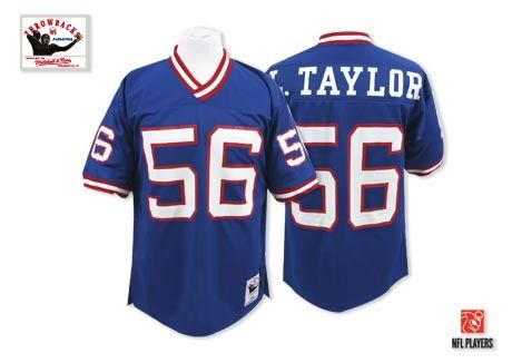 New York Giants Lawrence Taylor Jersey #56 Authentic Throwback Mitchell and Ness Blue NFL Jersey Sale
