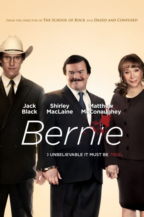 Bernie (2011) 3/10 Pros - based on a true story, dark, Cons - boring, not funny, poor acting, annoying townsfolk, bad pace, shallow character