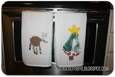 hand and foot stamped Christmas dishtowel