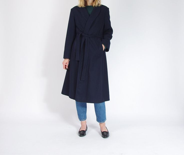 70s Featherlite Coat by Wellington Fashions Merino Wool Wrap Minimalist Outerwear Made in USA / Size L