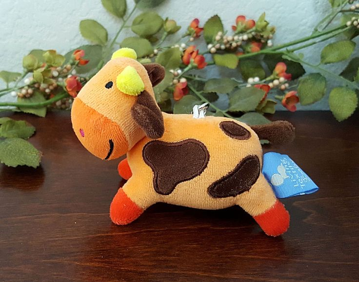 Living Textiles Baby Cow Backpack Bag Clip Keychain Stuffed Plush Farm Animal #LivingTextilesBaby #Baby #Cow BackpackClip #Backpack #KeyChain
