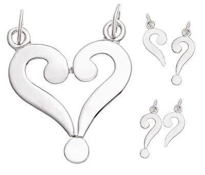 Break-Apart Pendant - LOVE IS THE ANSWER - Personalised Sterling Silver. A break-apart pendant to share with someone who has half your heart.   Individually, the pendants are Question Marks, but when both wearers are together the pieces form a Love Heart!