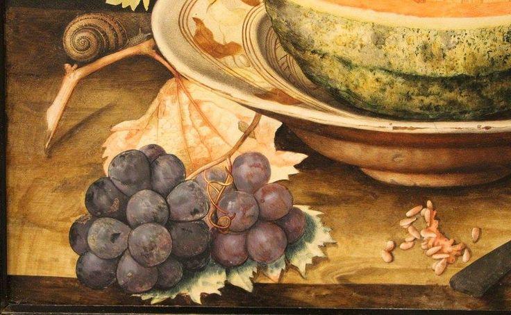 Giovanna Garzoni, natura morta con popone su un piatto, uva e una chiocciola, 1642-51 ca.