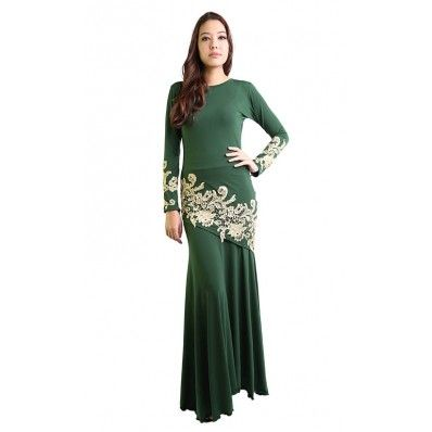 Kurung with Gold Lace in Green