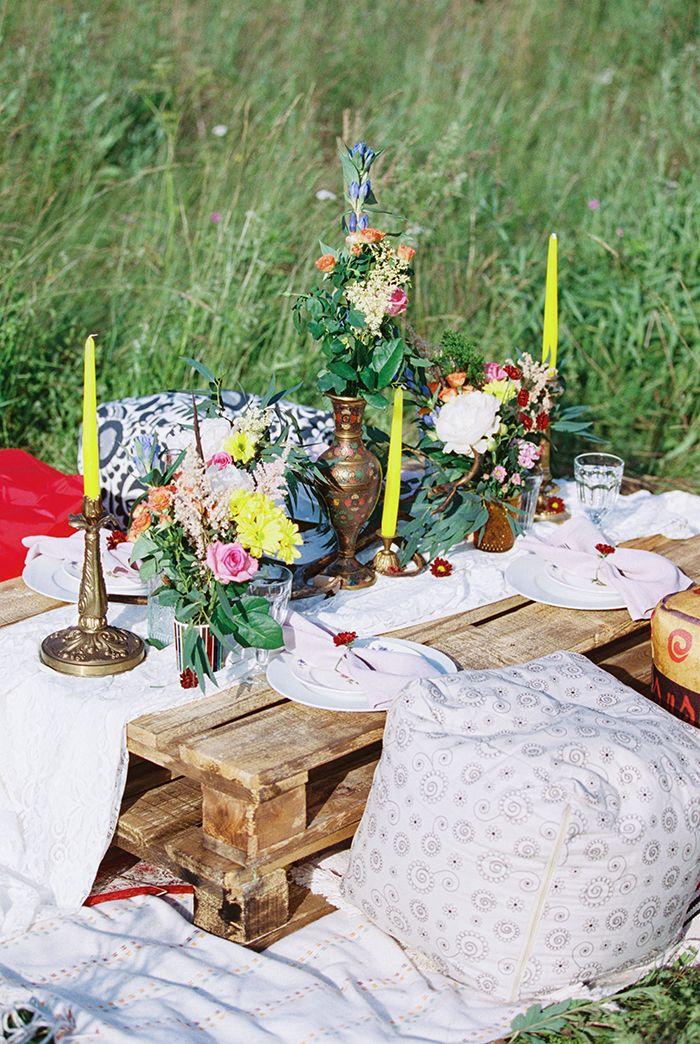 Vibrant wedding tablescape for Bohemian wedding inspiration shoot in the countryside with a dose of vibrancy | photo by Igor Kovchegin | Fab Mood - UK wedding blog #bohemian