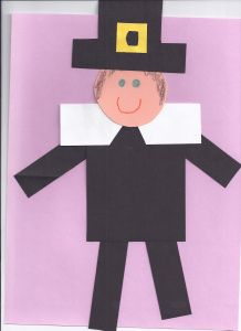 Pilgrim boy made from basic shapes for your Thanksgiving studies.