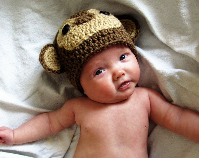 Monkey ears hat/ monkey beanie/ baby monkey hat cap/ ear flaps/ preemie, baby,child,adult animal hat/ crochet animal hat/ baby shower gift
