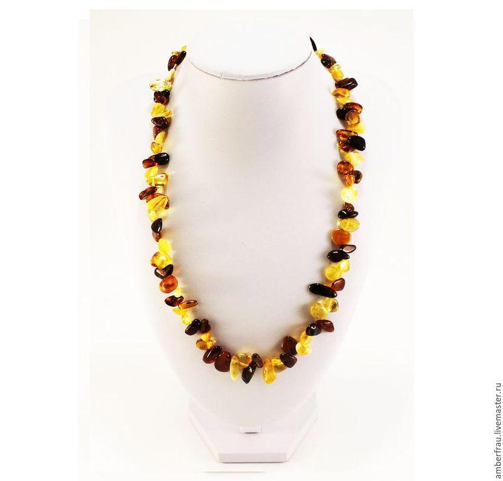 Купить Янтарные бусы облепиха(арт. 196) - желтый, янтарь, янтарь купить, янтарь натуральный