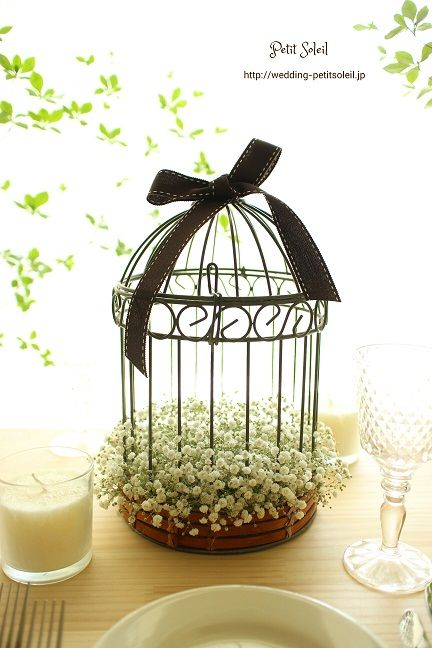 鳥かごがかわいい、かすみ草装花  baby's breath wedding table flower