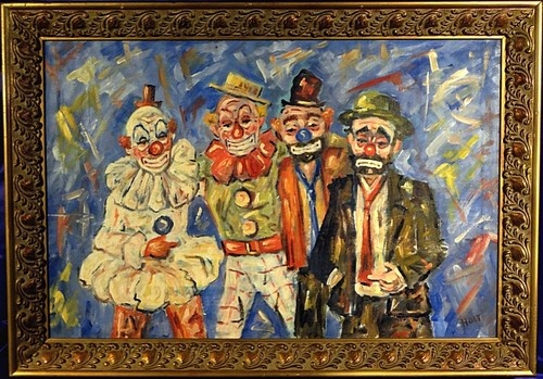 RARE CA 1940 Four Famous Clowns Portraits Painting Oil Canvas w Frame Signed | eBay