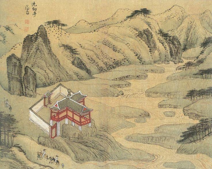 (Korea) 세검 pavilion in Seoul by Jeong Seon (1676-1759). ca 18th century CE. colors on paper. Art Museum, Seoul.