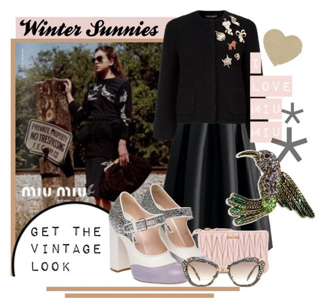 """WINTER SUNNIES"" by katiegillharrison on Polyvore featuring Miu Miu, Chicwish, Dolce&Gabbana, Jones New York and vintage"