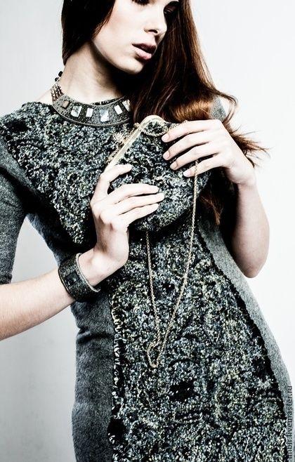 """Платье """"Серо-зеленое"""" - серый,бархат,вечернее платье,Коктейльное платье"""