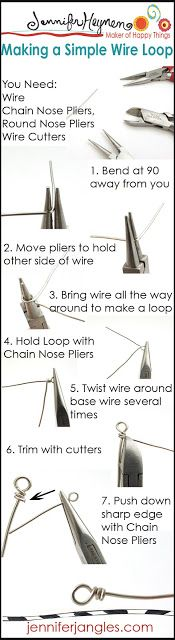 """Making a simple wire loop"" (http://jenniferjangles.blogspot.com/2013/03/jewelry-making-basics.html)"