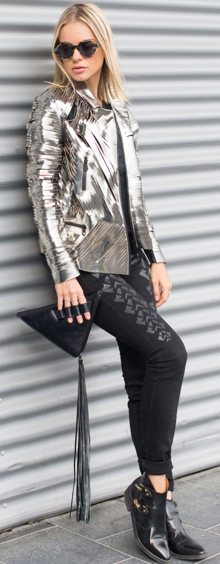 Catalina Grama Metallic Silver Creation Jacket Fall Inspo                                                                             Source