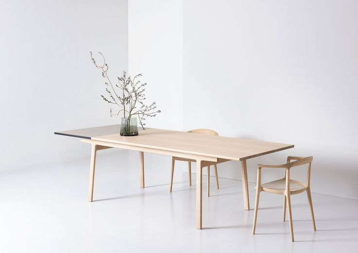 Maisa is an extendable dining table made from solid wood. The table is based on historical Chinese typologies: two leg elements (leg and cross brace) are connected to two longitudinal braces. The two linear, longitudinal braces...