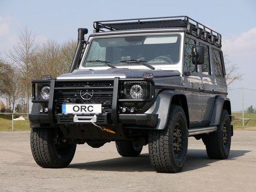 Mercedes G Professional mit ORC-Fahrwerksumbau und Spezialachsen, Hutchinson 7,5x16 mit 315/75R16 Bereifung, (ca. 17 cm mehr Bodenfreiheit und 16 cm breiter)